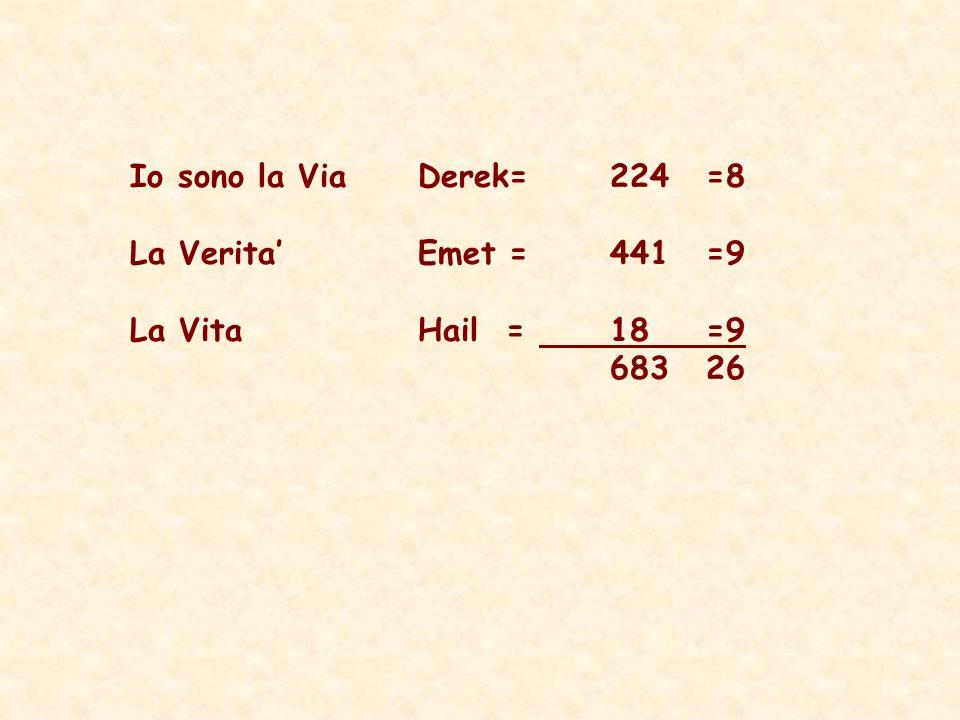 Io sono la Via Derek= 224 =8 La Verita' Emet = 441 =9 La Vita Hail = 18 =9 683 26