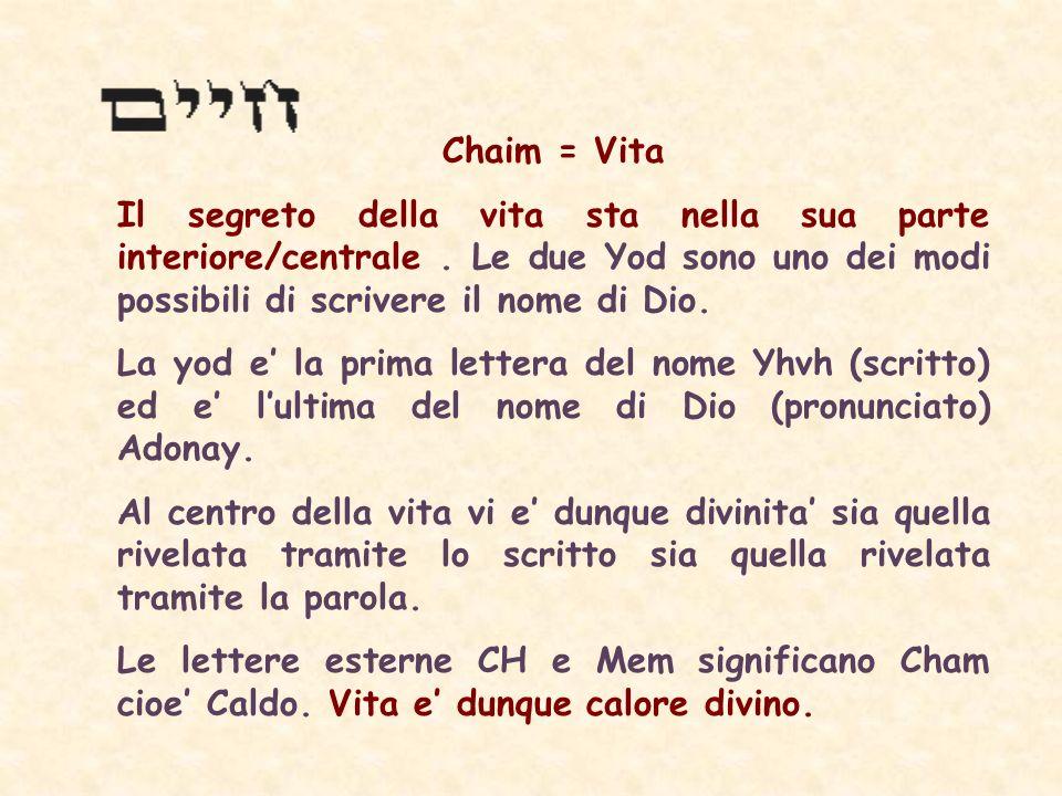 Chaim = Vita Il segreto della vita sta nella sua parte interiore/centrale . Le due Yod sono uno dei modi possibili di scrivere il nome di Dio.