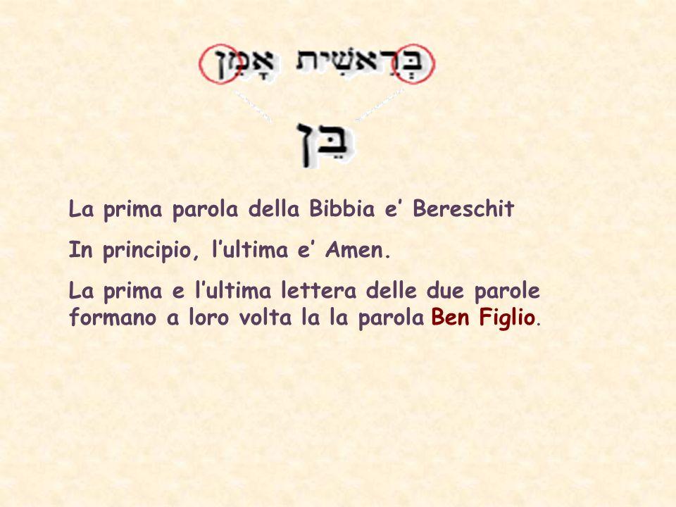 La prima parola della Bibbia e' Bereschit
