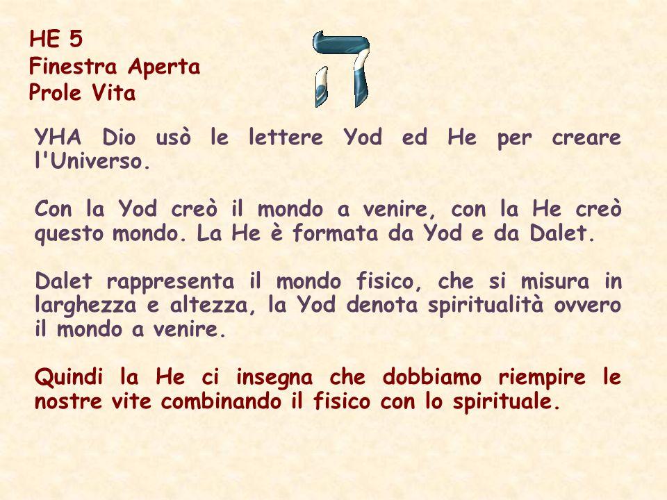 HE 5 Finestra Aperta. Prole Vita. YHA Dio usò le lettere Yod ed He per creare l Universo.