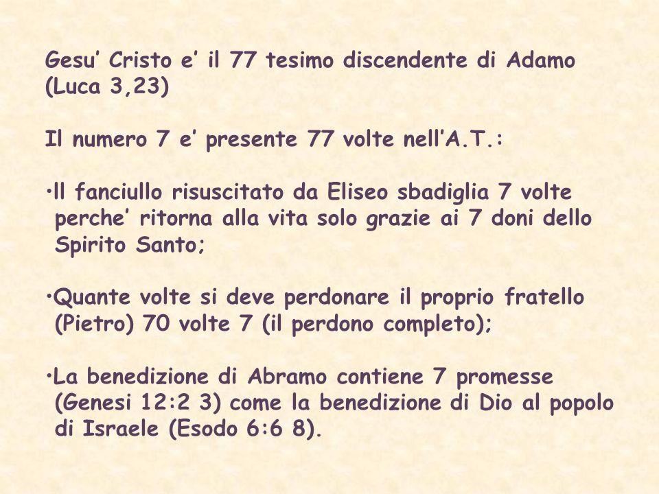 Gesu' Cristo e' il 77 tesimo discendente di Adamo (Luca 3,23)