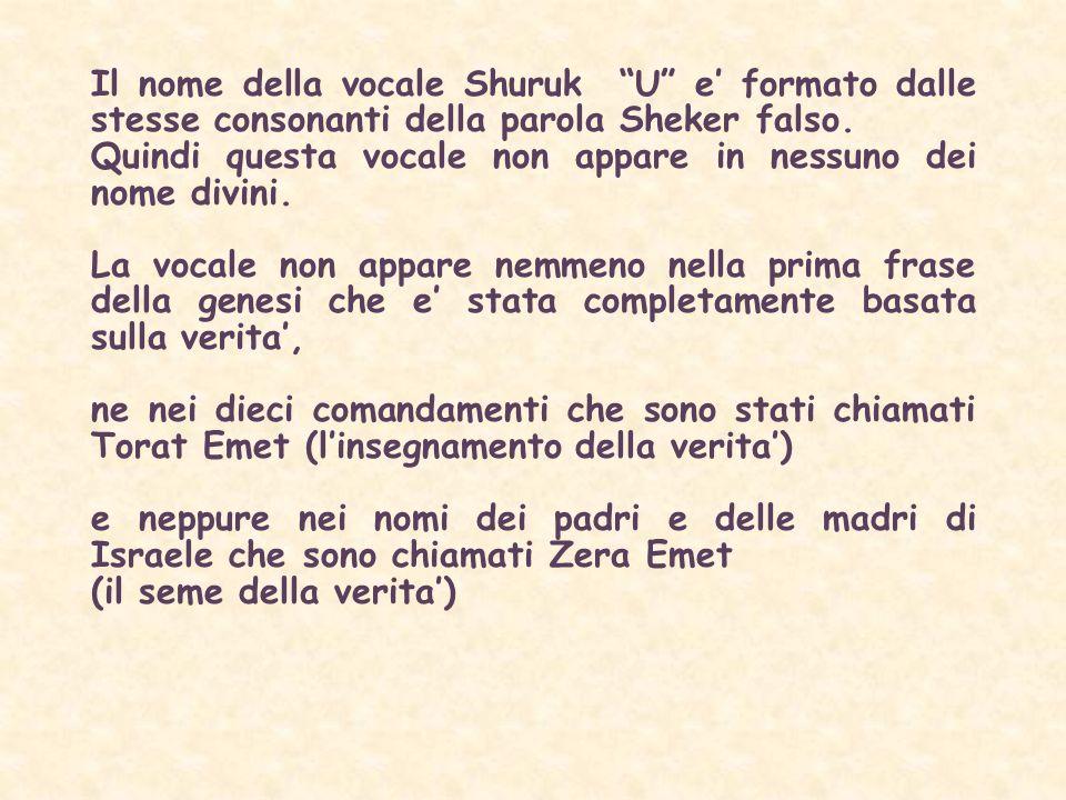 Il nome della vocale Shuruk U e' formato dalle stesse consonanti della parola Sheker falso.