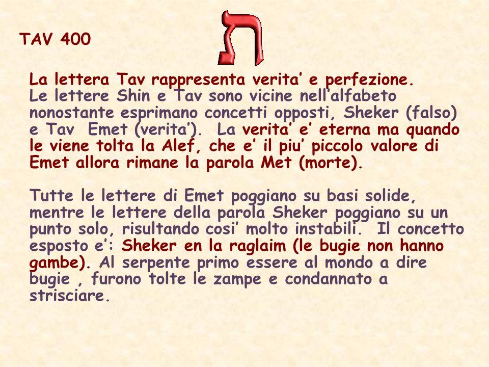 TAV 400 La lettera Tav rappresenta verita' e perfezione.
