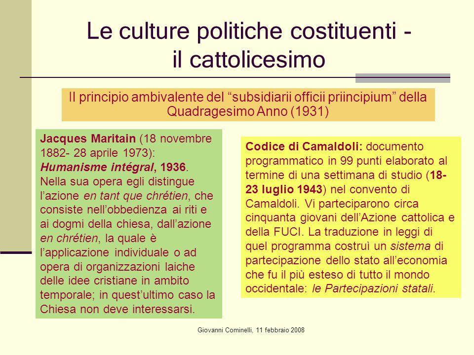 Le culture politiche costituenti - il cattolicesimo