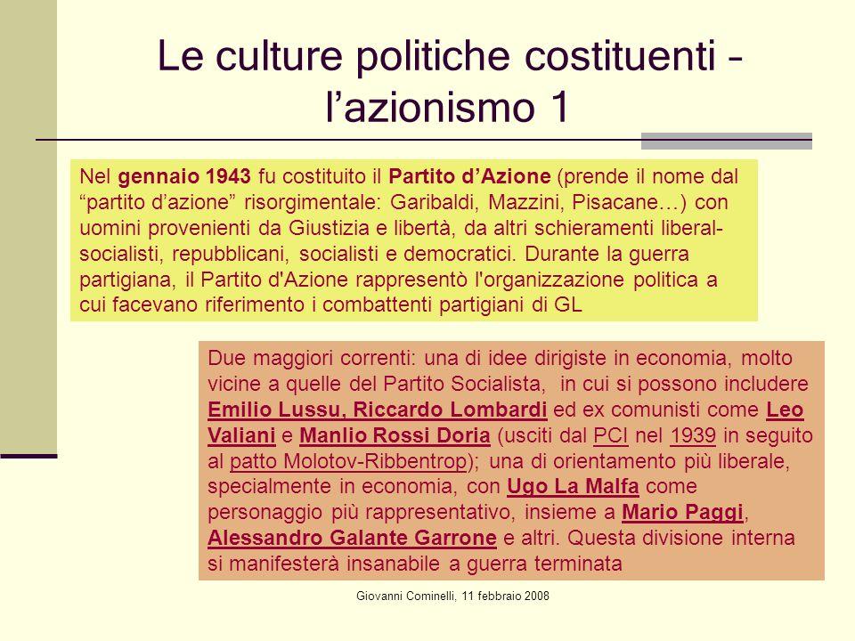 Le culture politiche costituenti – l'azionismo 1