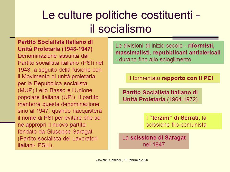 Le culture politiche costituenti – il socialismo