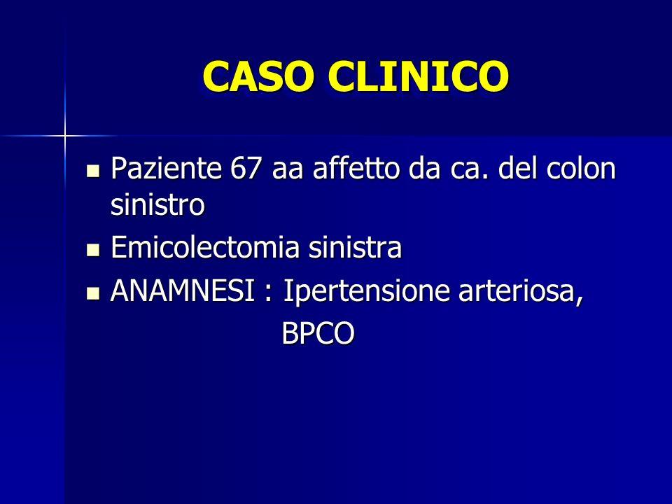CASO CLINICO Paziente 67 aa affetto da ca. del colon sinistro