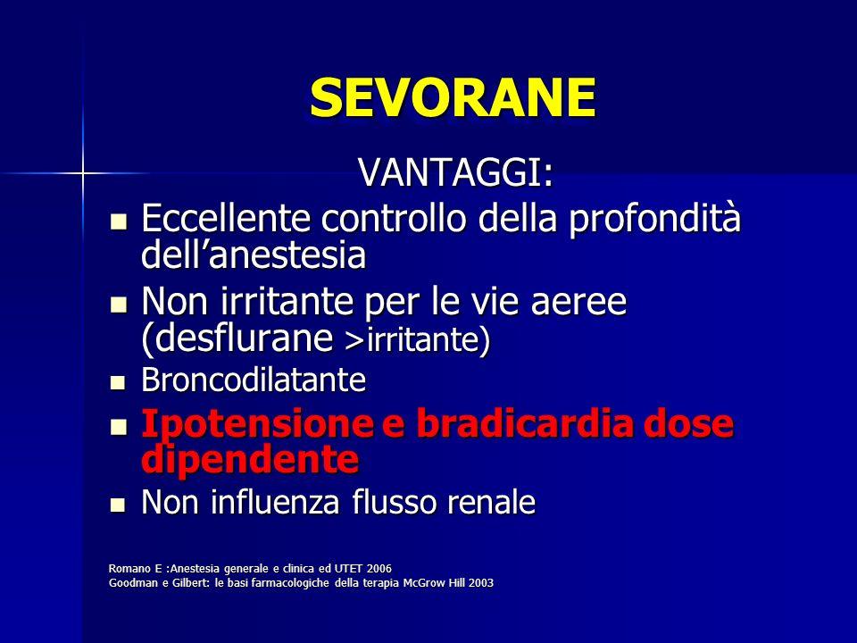 SEVORANE VANTAGGI: Eccellente controllo della profondità dell'anestesia. Non irritante per le vie aeree (desflurane >irritante)