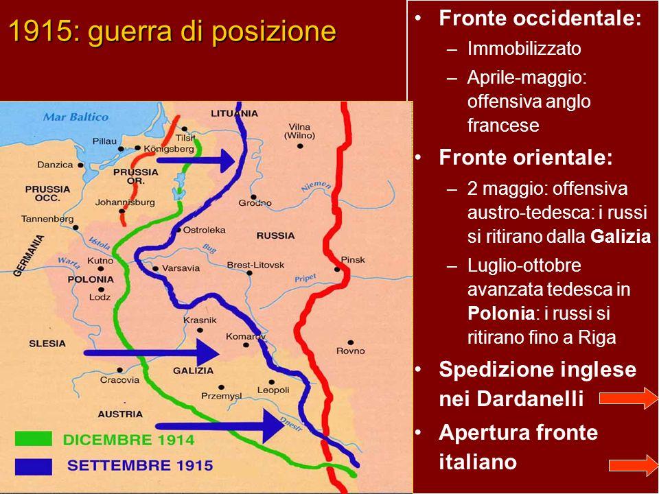 1915: guerra di posizione Fronte occidentale: Fronte orientale: