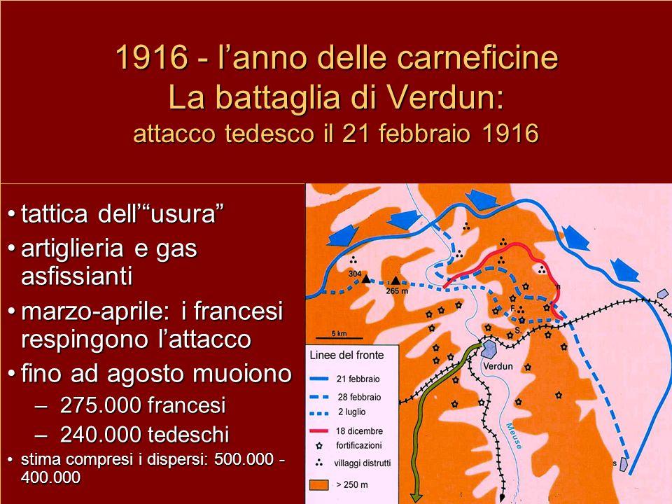 1916 - l'anno delle carneficine La battaglia di Verdun: attacco tedesco il 21 febbraio 1916