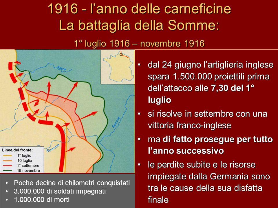 1916 - l'anno delle carneficine La battaglia della Somme: 1° luglio 1916 – novembre 1916