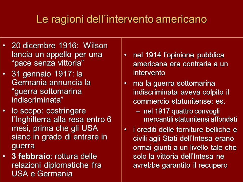 Le ragioni dell'intervento americano