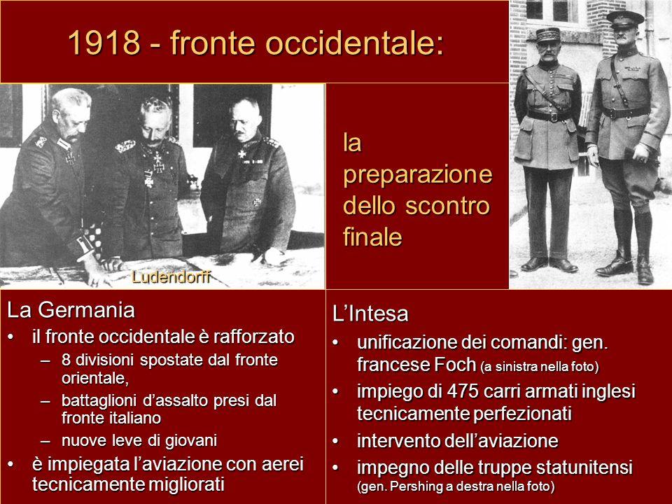 1918 - fronte occidentale: la preparazione dello scontro finale