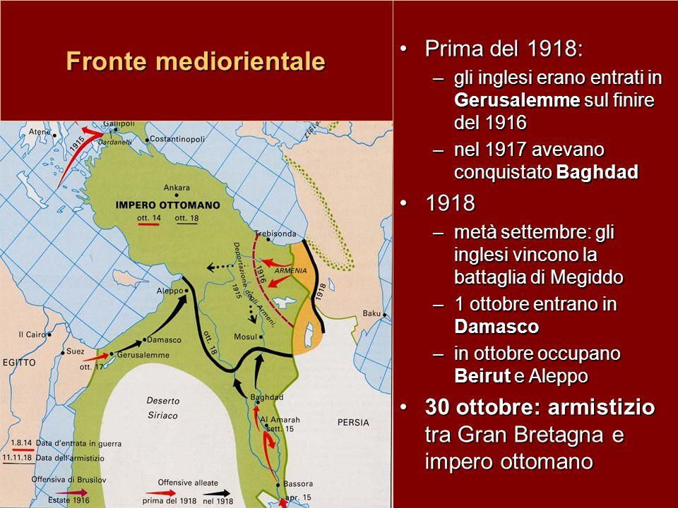 Fronte mediorientale Prima del 1918: 1918