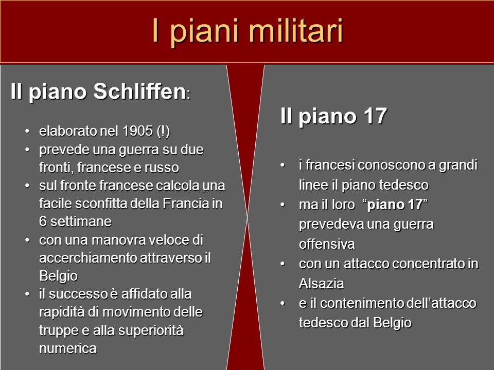 I piani militari Il piano Schliffen: Il piano 17