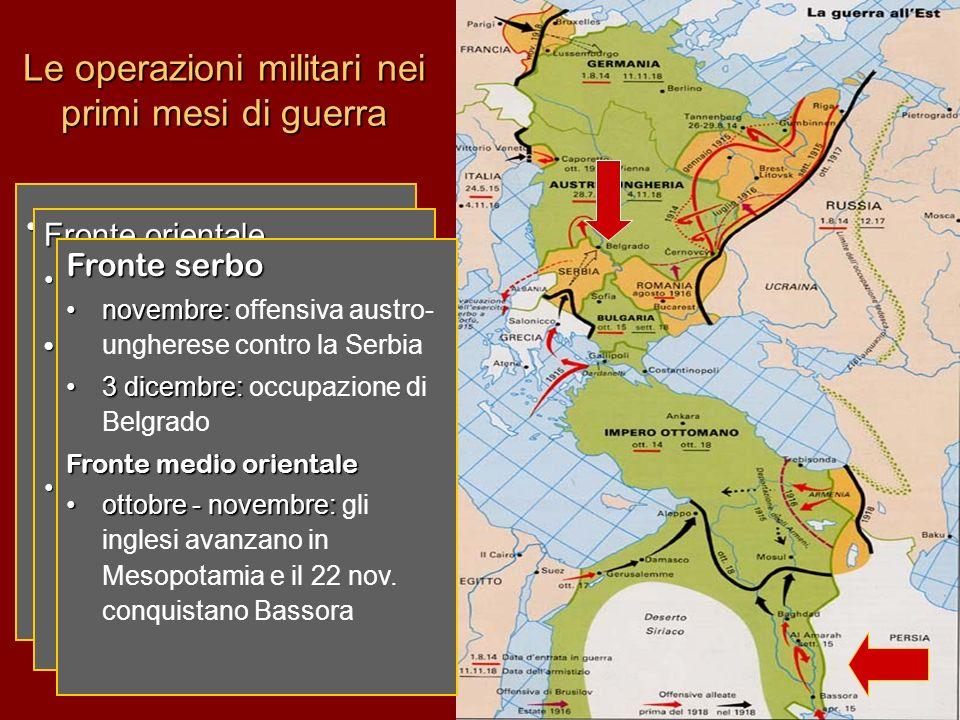 Le operazioni militari nei primi mesi di guerra