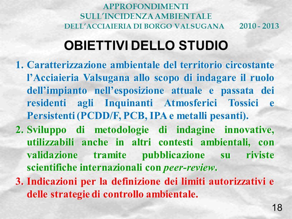 SULL'INCIDENZA AMBIENTALE OBIETTIVI DELLO STUDIO