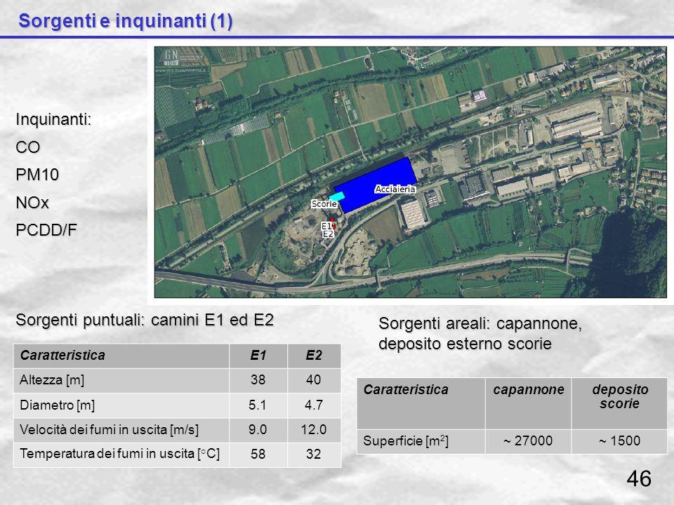 46 Sorgenti e inquinanti (1) Inquinanti: CO PM10 NOx PCDD/F