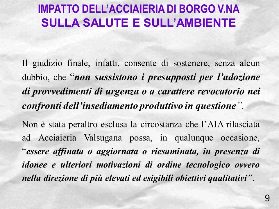 IMPATTO DELL'ACCIAIERIA DI BORGO V.NA SULLA SALUTE E SULL'AMBIENTE