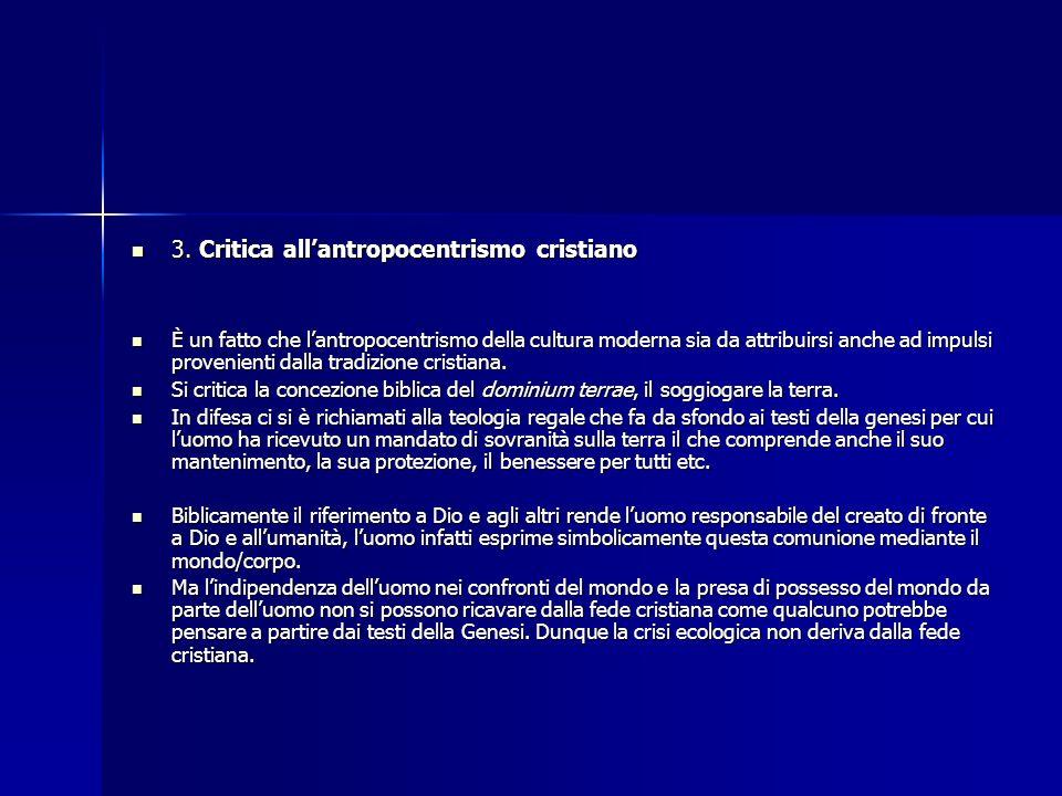 3. Critica all'antropocentrismo cristiano