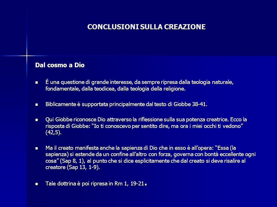 CONCLUSIONI SULLA CREAZIONE