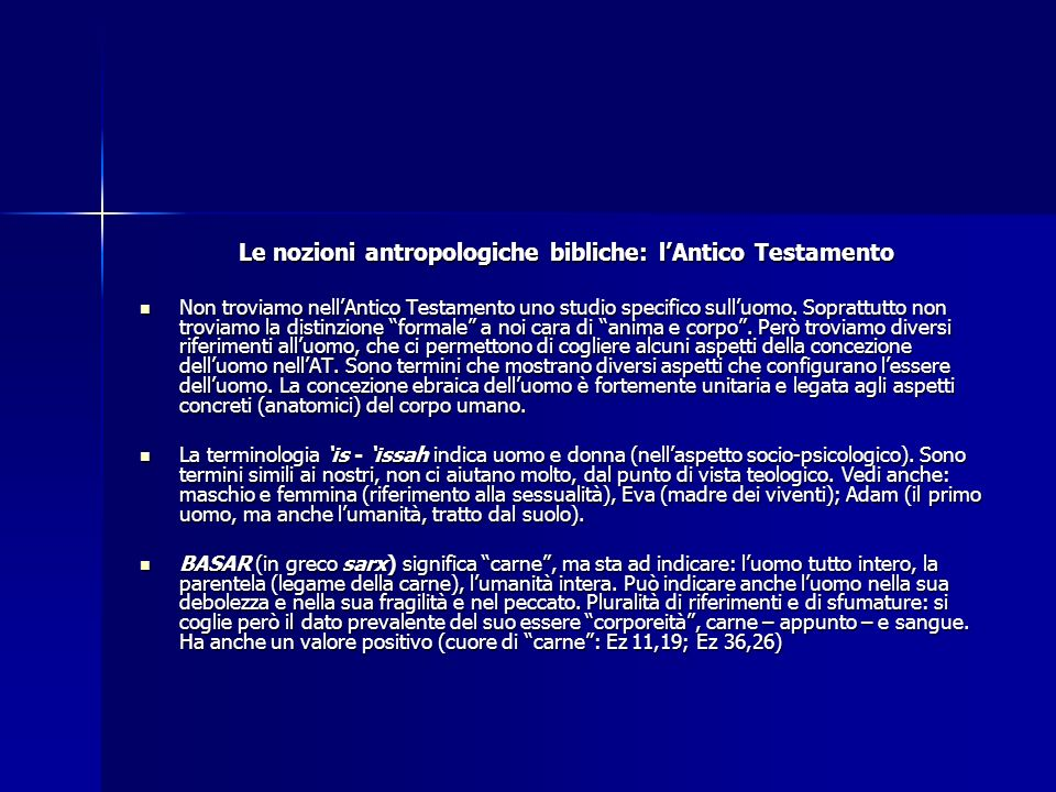 Le nozioni antropologiche bibliche: l'Antico Testamento