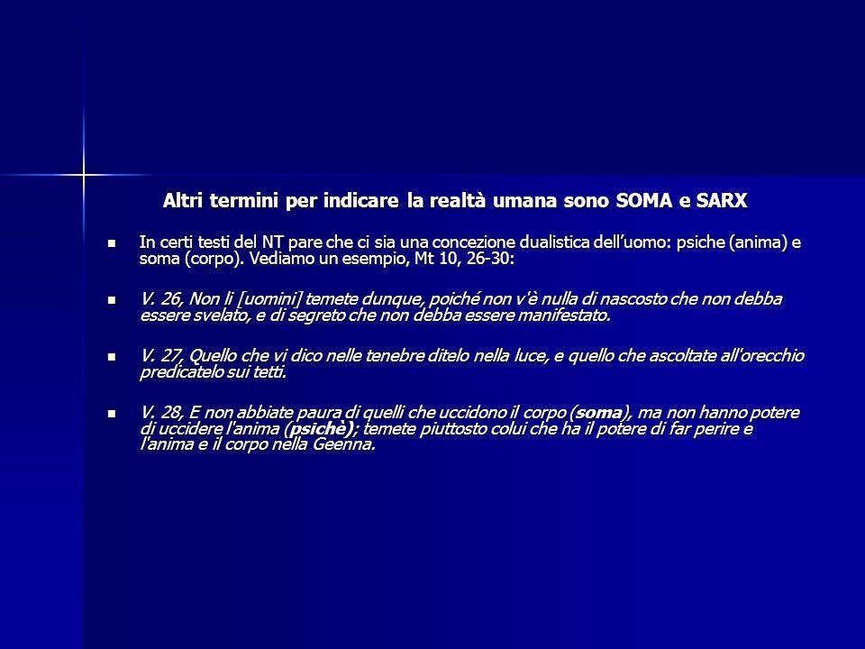 Altri termini per indicare la realtà umana sono SOMA e SARX