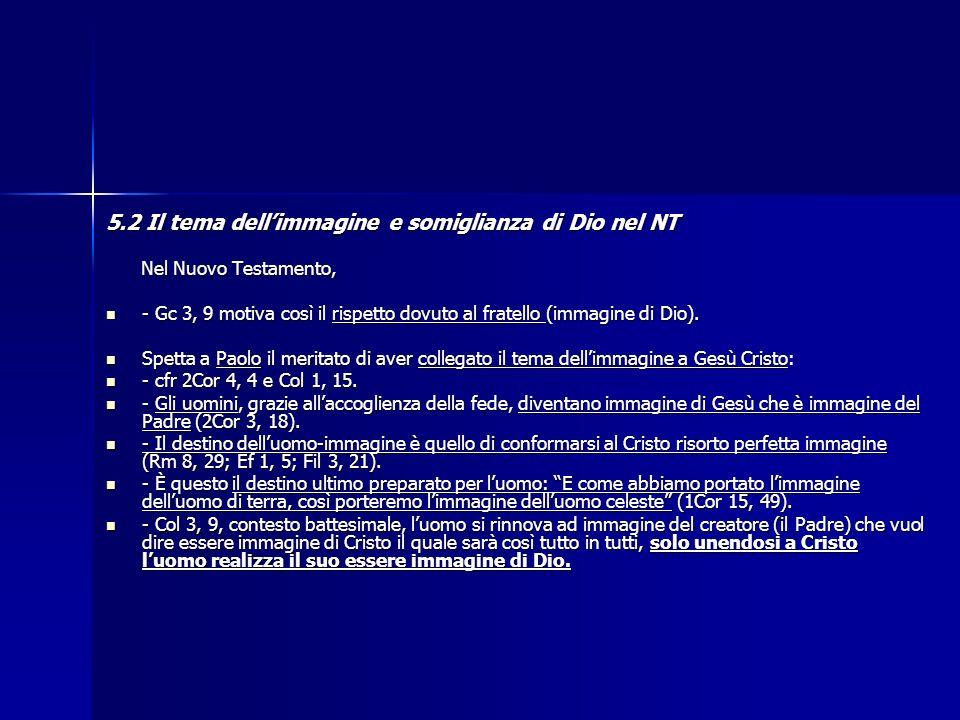 5.2 Il tema dell'immagine e somiglianza di Dio nel NT