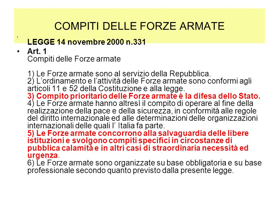 COMPITI DELLE FORZE ARMATE