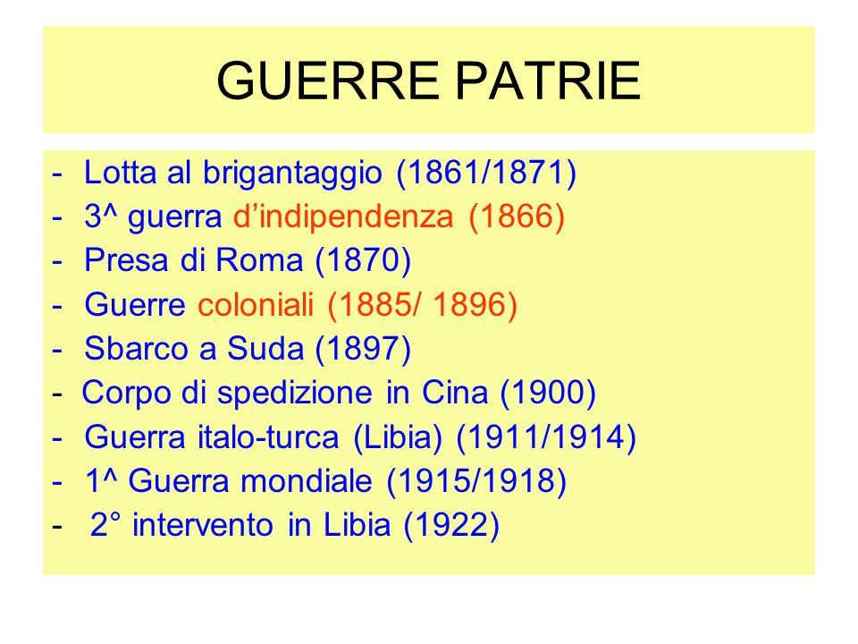 GUERRE PATRIE Lotta al brigantaggio (1861/1871)