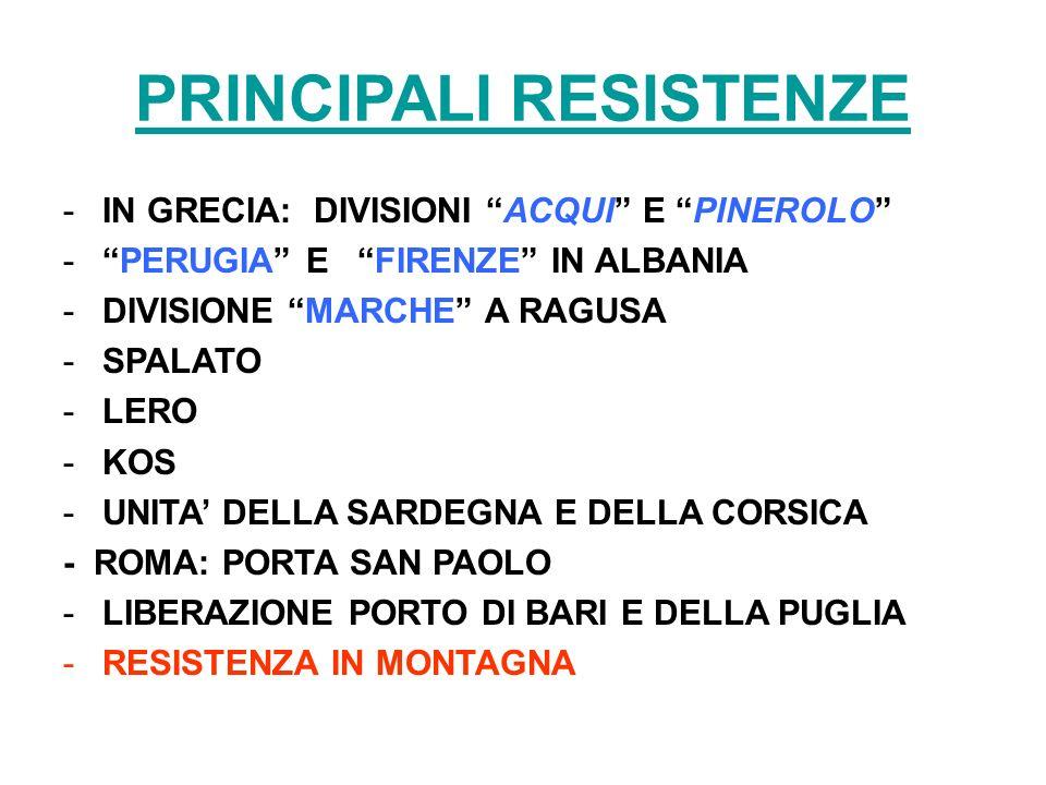 PRINCIPALI RESISTENZE
