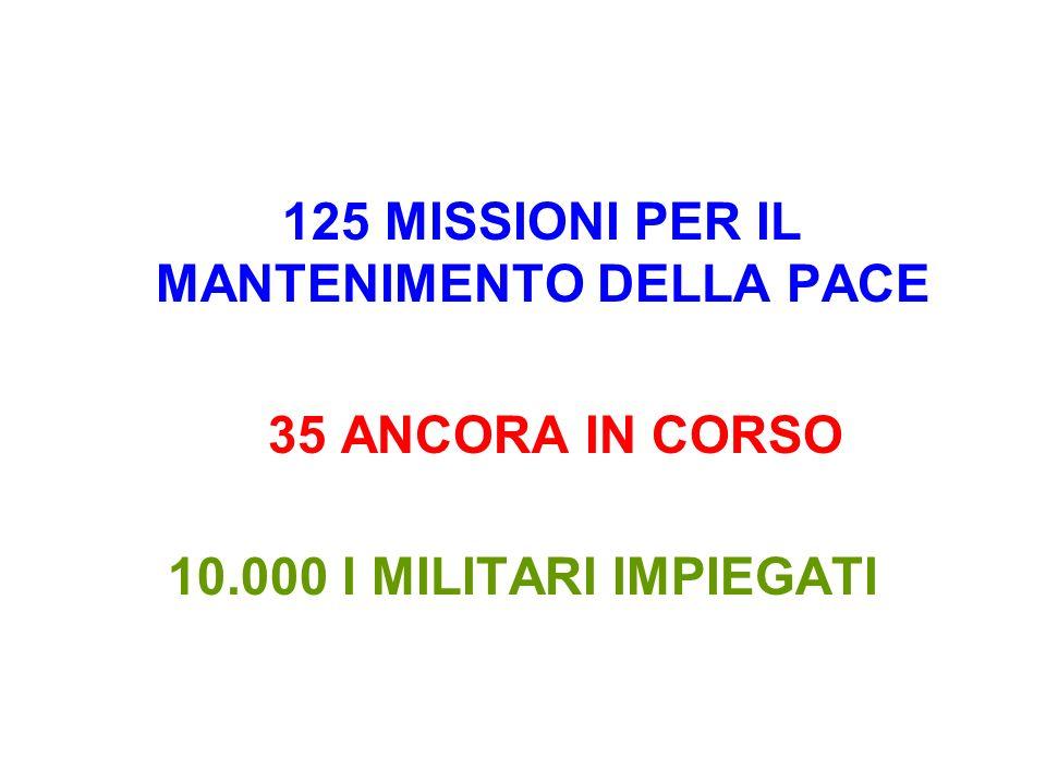 125 MISSIONI PER IL MANTENIMENTO DELLA PACE