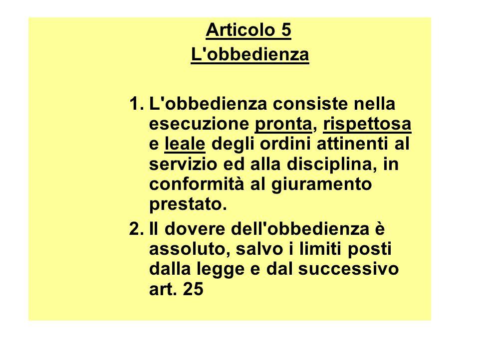 Articolo 5 L obbedienza.