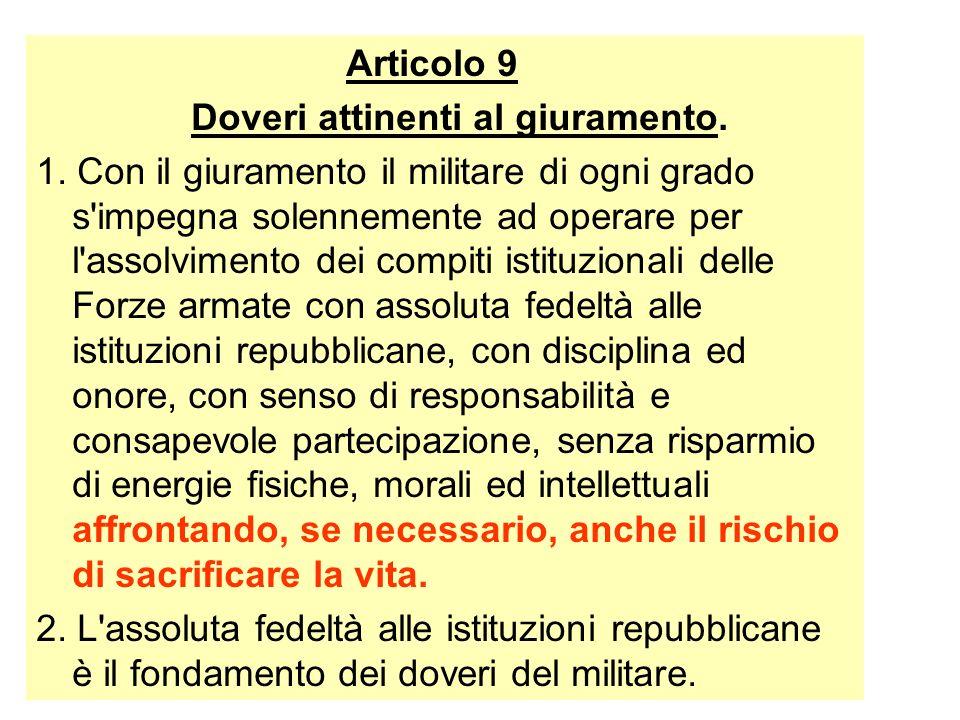 Articolo 9 Doveri attinenti al giuramento.
