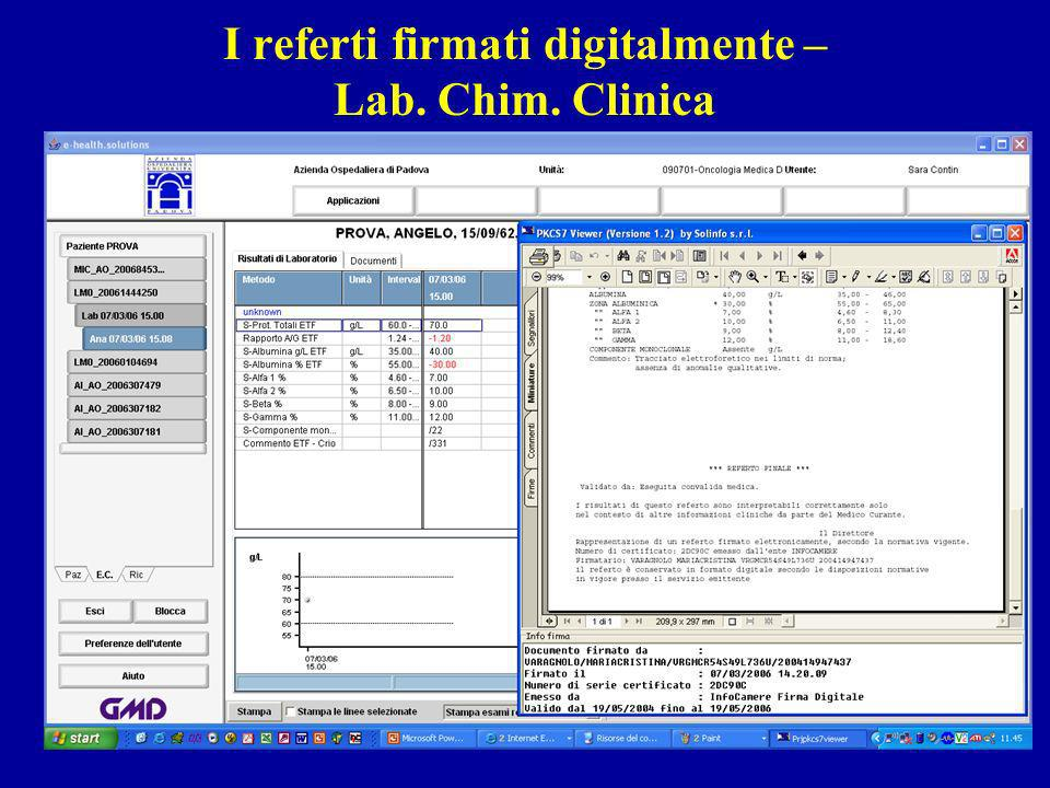 I referti firmati digitalmente – Lab. Chim. Clinica