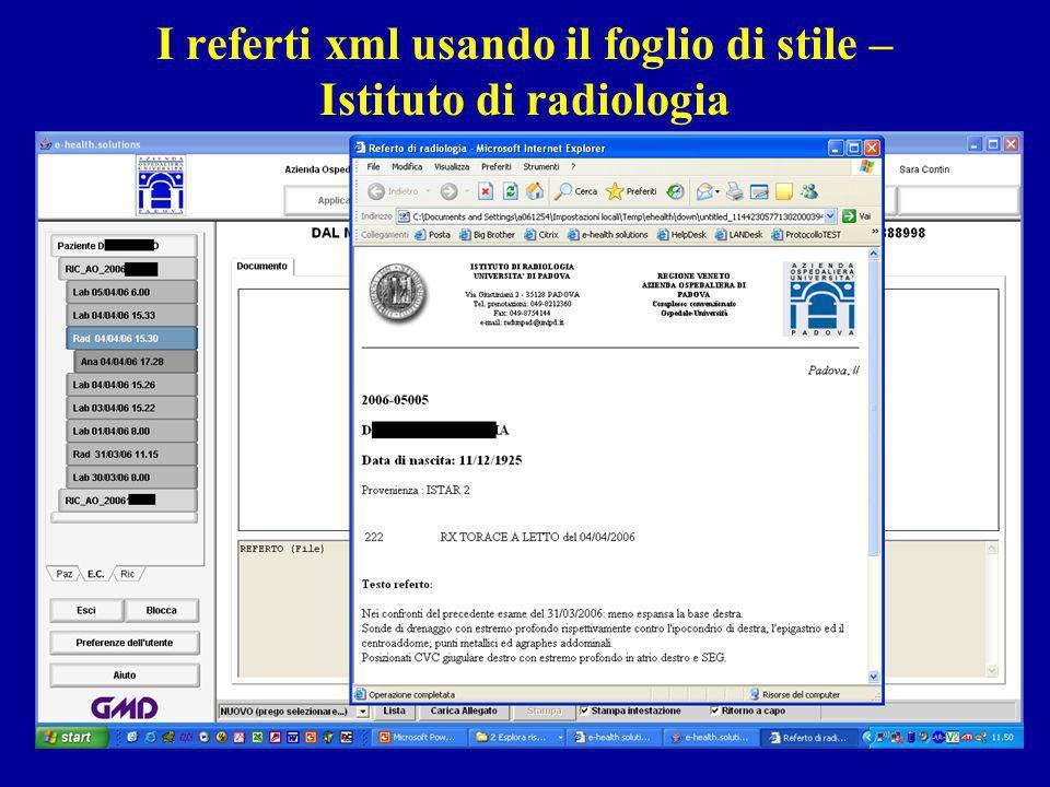 I referti xml usando il foglio di stile – Istituto di radiologia
