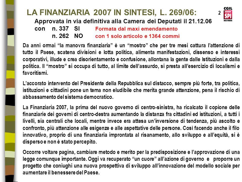 LA FINANZIARIA 2007 IN SINTESI, L. 269/06: