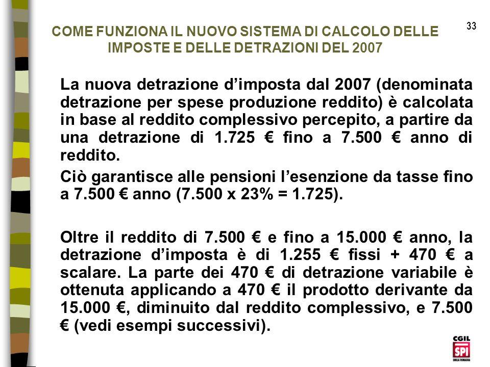 33 COME FUNZIONA IL NUOVO SISTEMA DI CALCOLO DELLE IMPOSTE E DELLE DETRAZIONI DEL 2007.