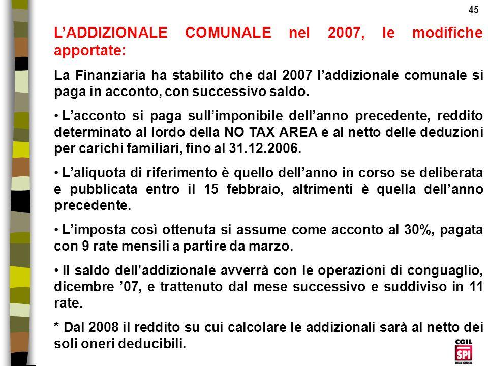 L'ADDIZIONALE COMUNALE nel 2007, le modifiche apportate: