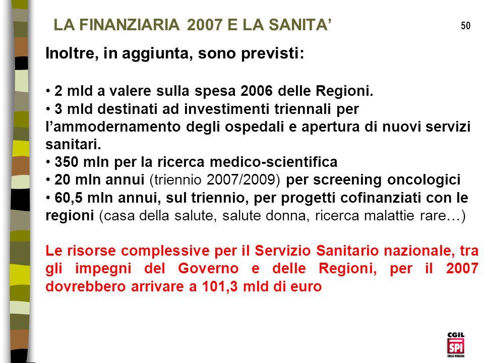 LA FINANZIARIA 2007 E LA SANITA'