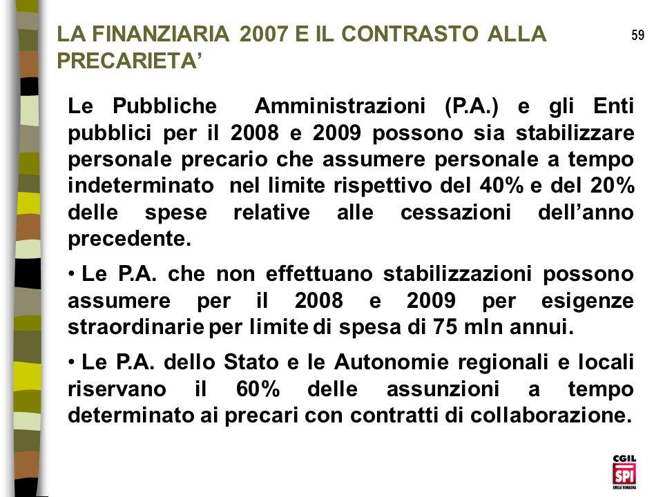 LA FINANZIARIA 2007 E IL CONTRASTO ALLA PRECARIETA'