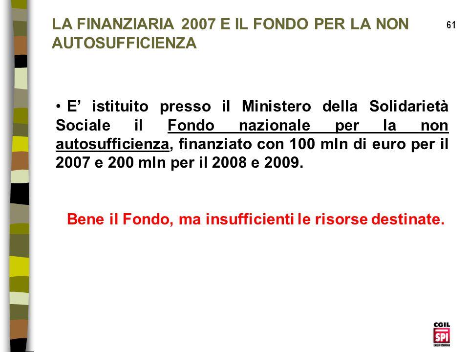 LA FINANZIARIA 2007 E IL FONDO PER LA NON AUTOSUFFICIENZA