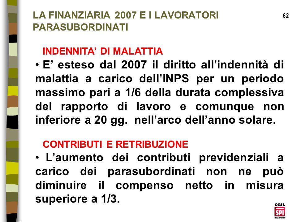 LA FINANZIARIA 2007 E I LAVORATORI PARASUBORDINATI
