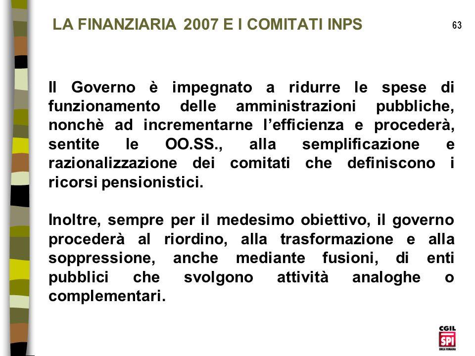 LA FINANZIARIA 2007 E I COMITATI INPS