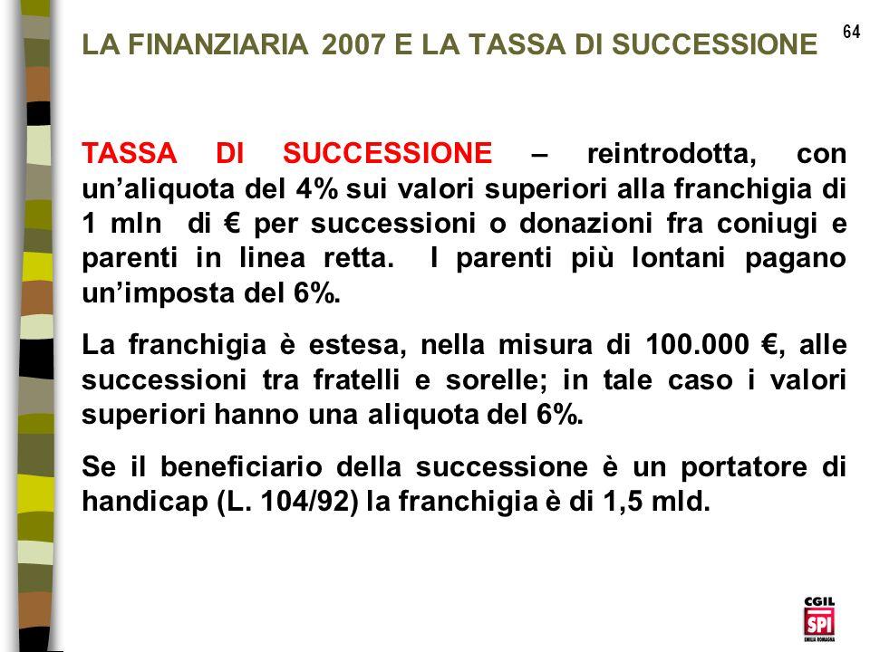 LA FINANZIARIA 2007 E LA TASSA DI SUCCESSIONE