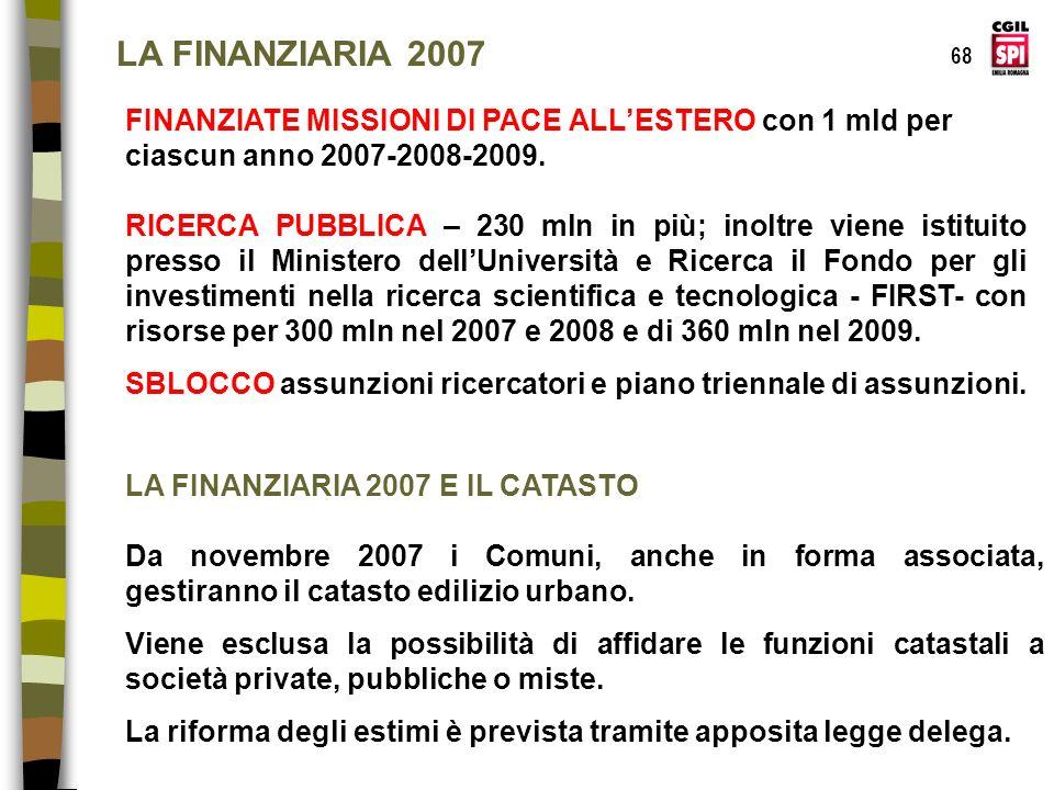 LA FINANZIARIA 2007 68. FINANZIATE MISSIONI DI PACE ALL'ESTERO con 1 mld per ciascun anno 2007-2008-2009.