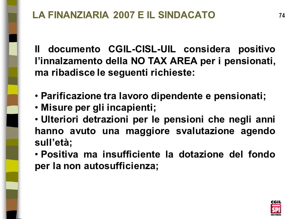 LA FINANZIARIA 2007 E IL SINDACATO