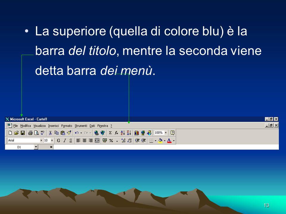 La superiore (quella di colore blu) è la barra del titolo, mentre la seconda viene detta barra dei menù.