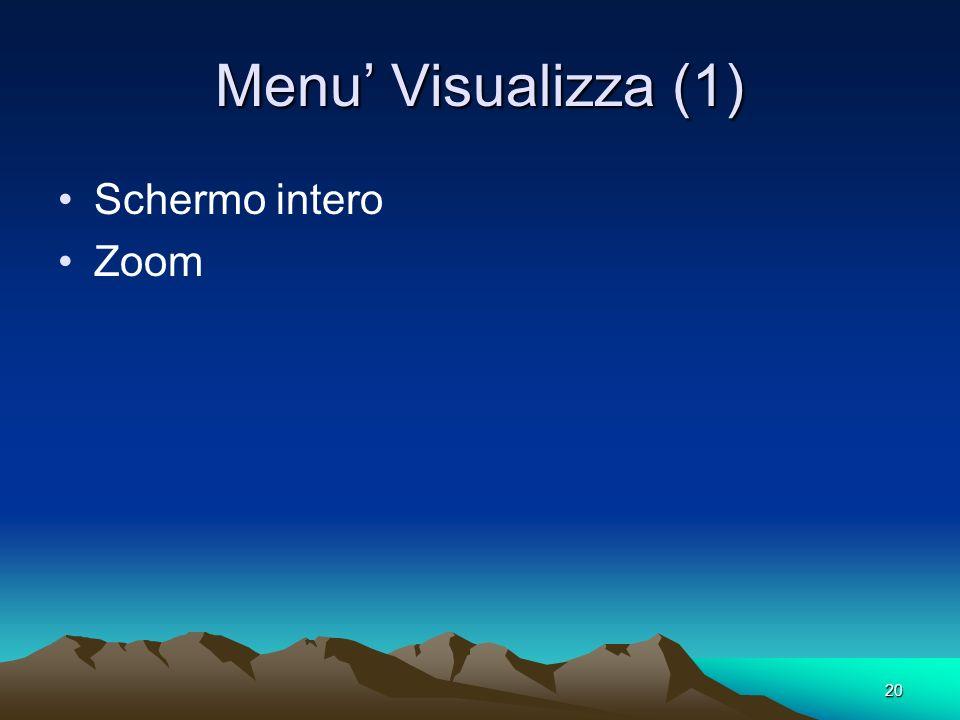 Menu' Visualizza (1) Schermo intero Zoom