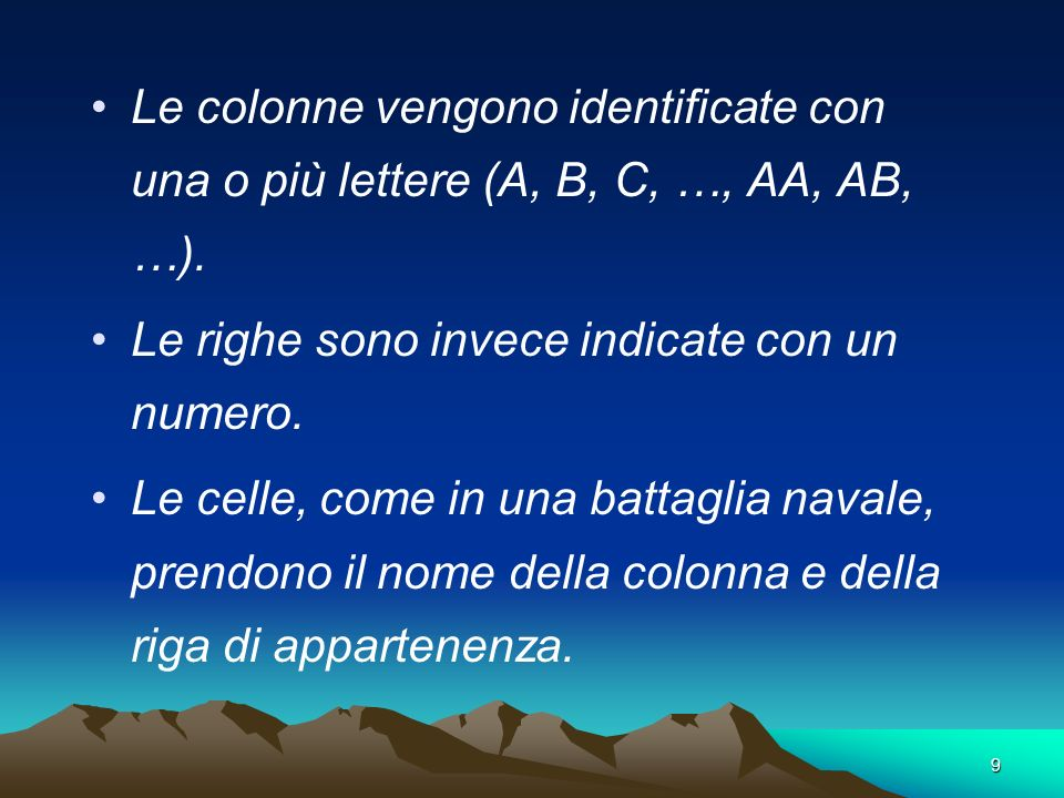 Le colonne vengono identificate con una o più lettere (A, B, C, …, AA, AB, …).